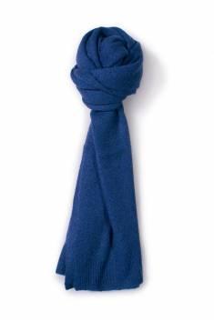 Écharpe cachemire tricotée bleu nuit