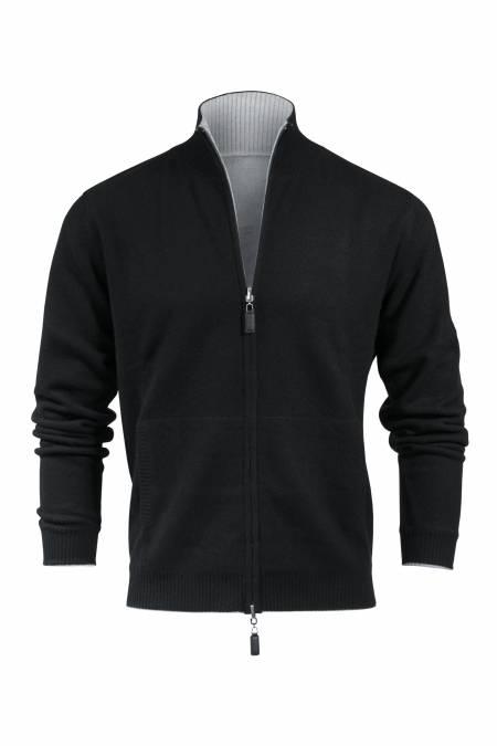 Gilet cachemire réversible noir/gris