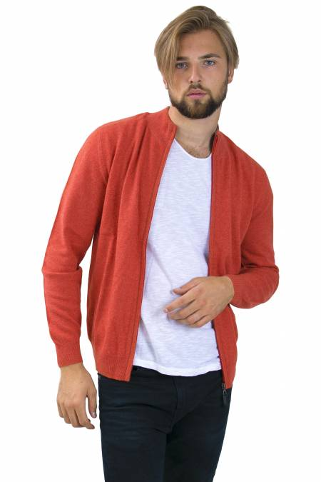 Pumpkin cashmere cardigan zip