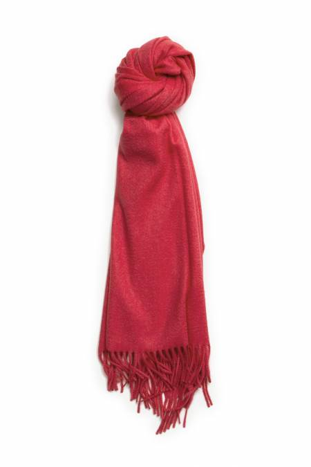 Red poppy fringed cashmere stole