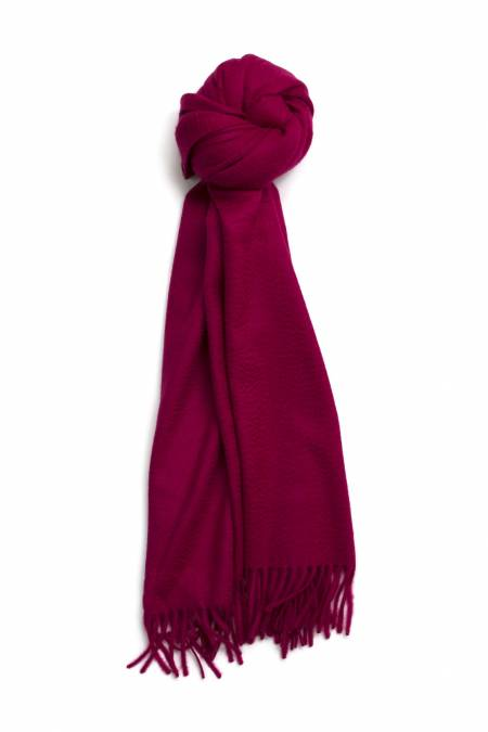 Fringed raspberry red cashmere stole