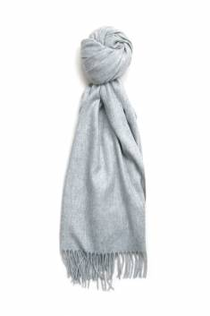 Fringed silver grey cashmere stole