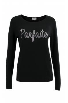 """Parfaite"" black cashmere pullover in strass"