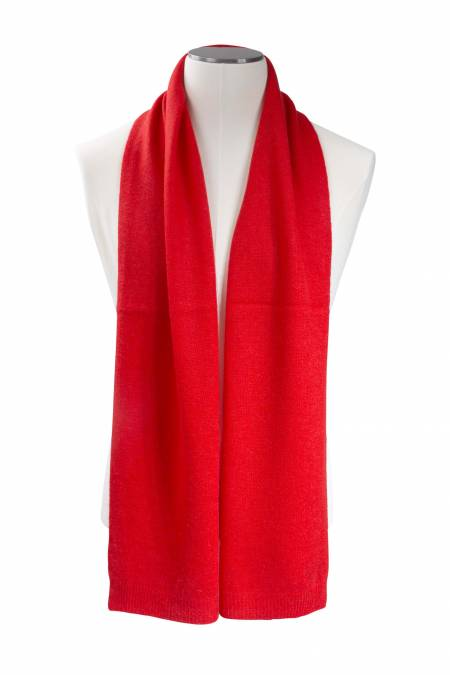 Tomato red knitted cashmere scarf