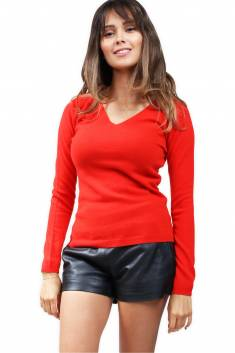 Pull cachemire 2 fils col V - Rouge tomate