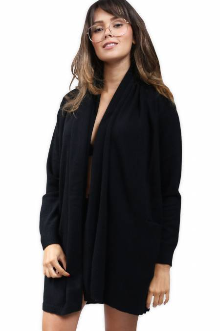 Long cashmere cardigan with shawl collar