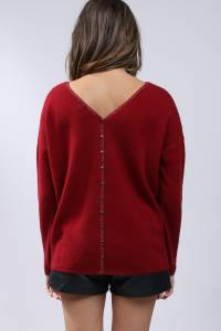 Cashmere sweater V-neck buttoned back