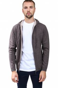 Gilet capuche cachemire - Taupe