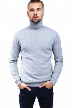 Grey cashmere sweater turtleneck