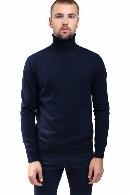 Navy cashmere sweater turtleneck