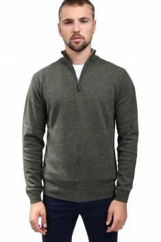 Cashmere zipper trucker sweater