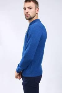 Polo cachemire bleu nuit