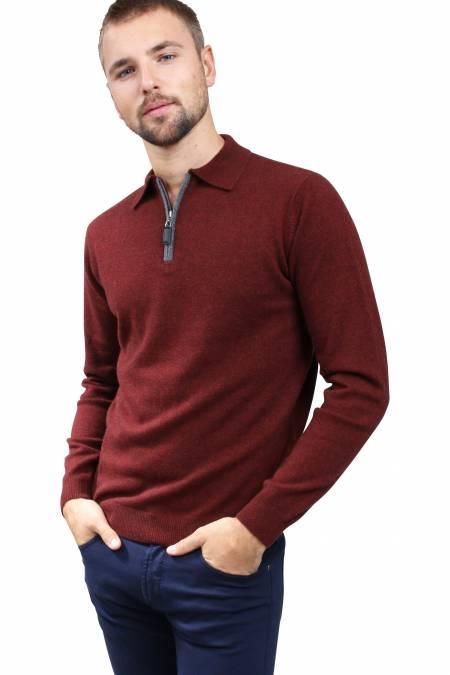 Polo cachemire rouge braise