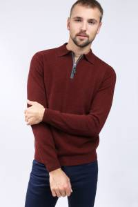 Red embers cashmere polo