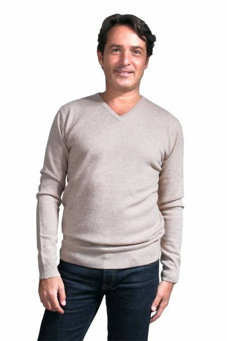 Brown stone V neck cashmere sweater