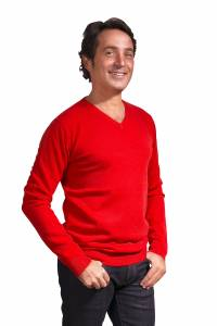 Red V neck cashmere sweater
