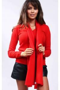 Écharpe cachemire tricotée rouge tomate