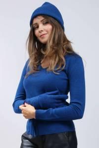 Bonnet mixte 100% cachemire Bleu Nuit