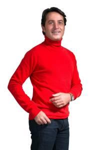Pull col roulé cachemire rouge