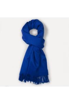 Étole cachemire bleu royal à franges