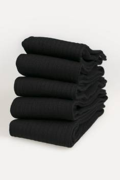 5 X Pairs of black Merino Men's High Socks