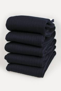 5 X Pairs of navy Merino Men's High Socks