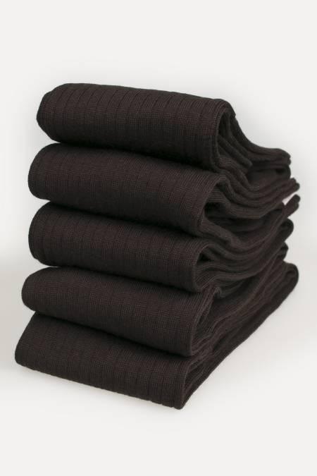5 X Paires de chaussettes hautes Homme Mérinos marron