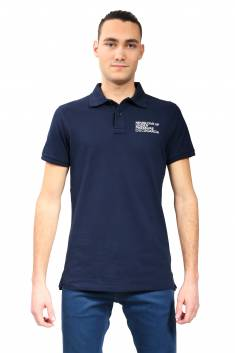 Navy fitted cut polo in organic cotton