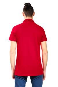 Polo à coupe ajustée en piqué de coton biologique rouge