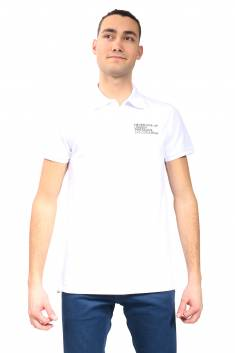 White fitted cut polo in organic cotton