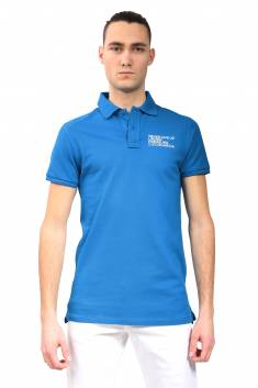 Royal blue fitted cut polo in organic cotton