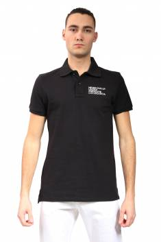 Black fitted cut polo in organic cotton