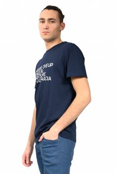 Navy organic cotton fitted-cut T-shirt