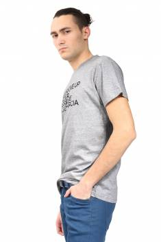 Grey organic cotton fitted-cut T-shirt